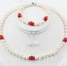 White Freshwater Pearl and Red Coral Set ( Necklace Bracelet and Matched Earrings )