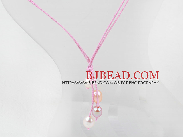 Simple Style Natural White Pink Purple Freshwater Pearl Necklace with Pink Thread
