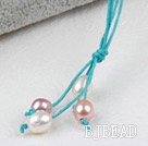 Simple Style Natural White Pink Purple Freshwater Pearl Necklace with Green Thread