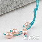 Simple Style Natural Pink Freshwater Pearl Necklace with Green Thread