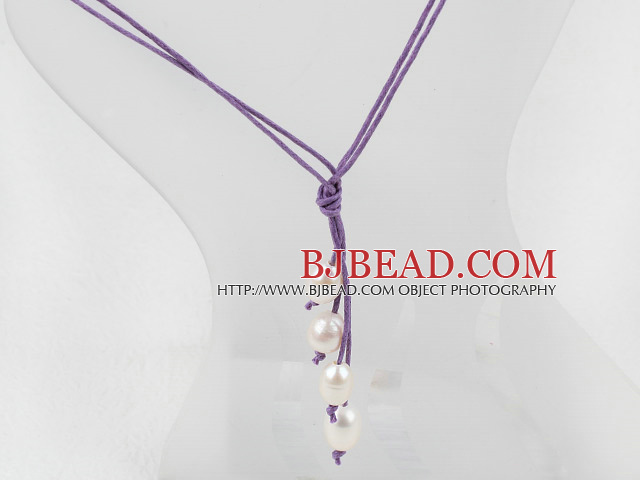 Simple Style Natural White Freshwater Pearl Necklace with Purple Thread