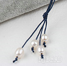 Simple Style Natural White Freshwater Pearl Necklace with Dark Blue Thread