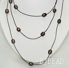 Long Style Black Pearl Necklace with Black Cord