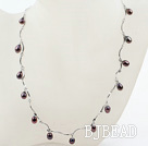 New Design Black Freshwater Pearl Necklace with Metal Chain