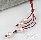 Simple Style Natural White Freshwater Pearl Necklace with Red Thread