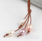 Simple Style Natural White Pink Purple Freshwater Pearl Necklace with Brown Thread