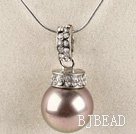 light purple 16mm sea shell bead pendant necklace with shinning crystal rhinestone