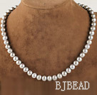 noble 15.7 inches 8-9mm gray round pearl beaded necklace under $ 40