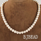 charming 16.5  inches 9-10mm natural white color pearl beaded necklace