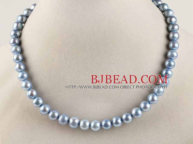 15.7 inches 9-10mm dyed blue round pearl beaded necklace