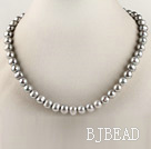 admirably 15.7 inches 8-9mm dyed gray round pearl beaded necklace