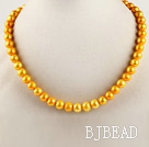 dyed yellow 15.7 inches 9-10mm pearl beaded necklace