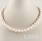 admirably 16.5  inches 11-12mm natural white color pearl beaded necklace under $ 40