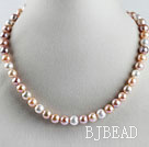 favourite 15.7  inches 9-10mm natural colors round pearl beaded necklace