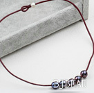 Simple Design Black FW Pearl Necklace with Red Leather