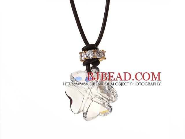 Summer New Released Clear Austrian Crystal Four Leaf Clover Pendant Necklace with Dark Brown Leather