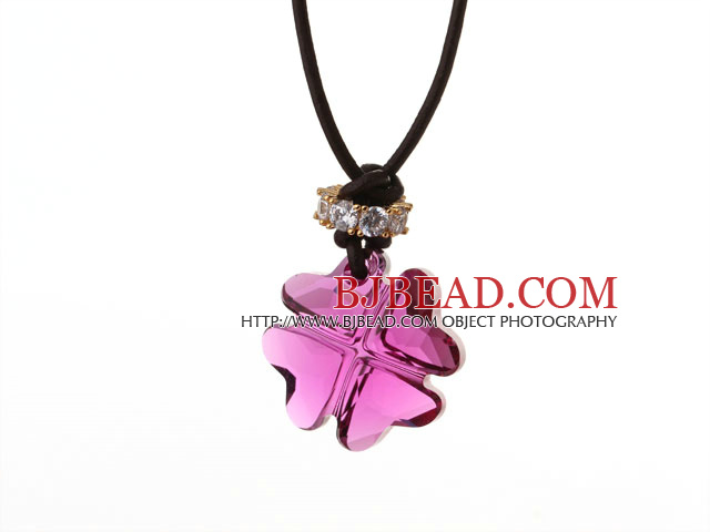 Summer New Released Lovely Purple Austrian Crystal Four Leaf Clover Pendant Necklace with Dark Brown Leather