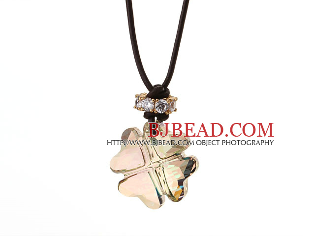 Summer New Released Light Green Austrian Crystal Four Leaf Clover Pendant Necklace with Dark Brown Leather