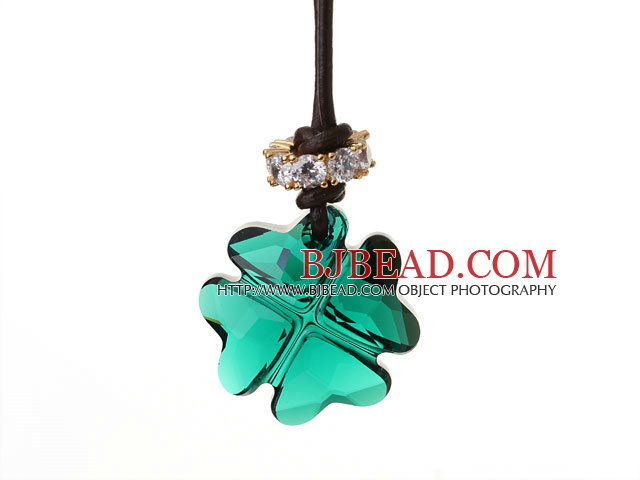 Summer New Released Green Austrian Crystal Four Leaf Clover Pendant Necklace with Dark Brown Leather