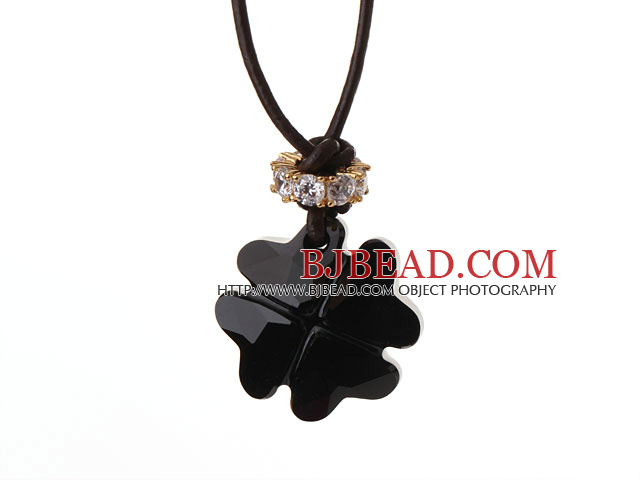 Summer New Released Cool Black Austrian Crystal Four Leaf Clover Pendant Necklace with Dark Brown Leather