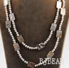 fashion long style 47.2 inches white pearl and white oblong shape shell necklace