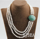 sparkly three strand white pearl necklace with aventurine box clasp under $ 40