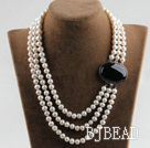 sparkly three strand 8-9mm white pearl necklace with black gem box clasp under $ 40