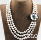 sparkly three strand white pearl necklace with big ingot clasp