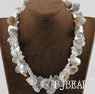 16.9 inches white petal shape reborn pearl necklace with moonlight clasp under $ 40