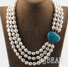 sparkly three strand white baroque pearl necklace with blue gem clasp under $ 40