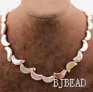 Moon Shape Pink Rebirth Pearl Necklace with Heart Toggle Clasp