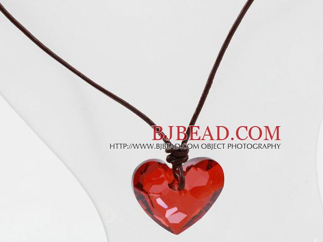 Classic Design Red Color Heart Shape Austrian Crystal Pendant Necklace