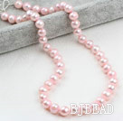 Classic Design 9-10mm Baby Pink Freshwater Pearl Beaded Necklace