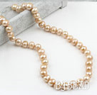 Classic Design 9-10mm Champange Color Freshwater Pearl Beaded Necklace