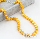 Classic Design 9-10mm Golden Yellow Color Freshwater Pearl Beaded Necklace