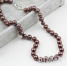 Classic Design 9-10mm Coffee colore della perla d'acqua dolce Beaded Necklace
