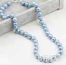 Classic Design 9-10mm Light Blue Freshwater Pearl Beaded Necklace
