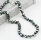 Classic Design 9-10mm Black Pearl Freshwater Verde Beaded Necklace