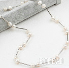 Classic Design White Freshwater Pearl Tin Cup Necklace with Lobster Clasp under $ 40