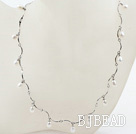 New Design White Freshwater Pearl Necklace with Metal Chain under $ 40