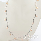 New Design Pink Freshwater Pearl Necklace with Metal Chain
