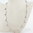 New Design Purple Freshwater Pearl Necklace with Metal Chain