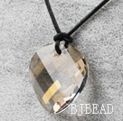 Simple Design Silver Champagne Color Faceted Austrian Crystal Potato Chips Shape Pendant with Leather Chain under $ 40