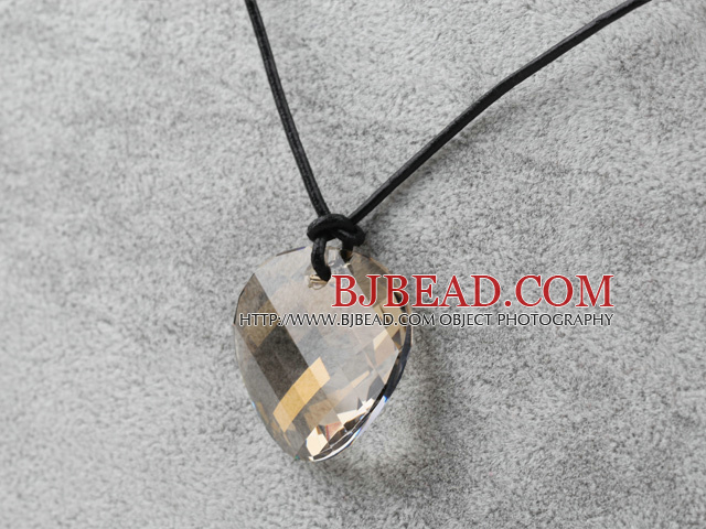 Simple Design Silver Champagne Color Faceted Austrian Crystal Potato Chips Shape Pendant with Leather Chain