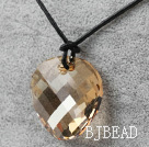 Simple Design Golden Champagne Color Faceted Austrian Crystal Potato Chips Shape Pendant with Leather Chain