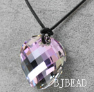 Simple Design Purple with Colorful Faceted Austrian Crystal Potato Chips Shape Pendant with Leather Chain under $ 40
