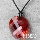 Simple Design Red Faceted Austrian Crystal Potato Chips Shape Pendant with Leather Chain under $ 40