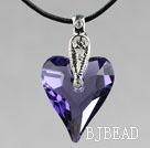 Simple Style 27mm Purple Austrian Crystal Heart Pendant Necklace under $ 40