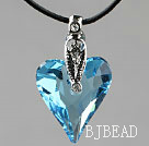 Simple Style 27mm Sky Blue Austrian Crystal Heart Pendant Necklace under $ 40
