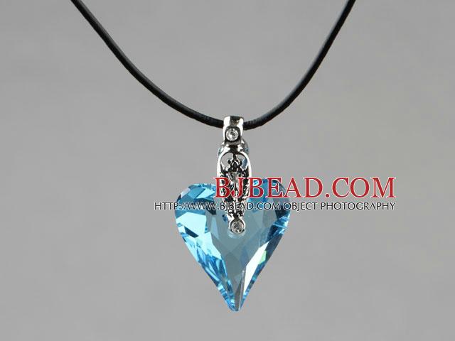 Simple Style 27mm Sky Blue Austrian Crystal Heart Pendant Necklace